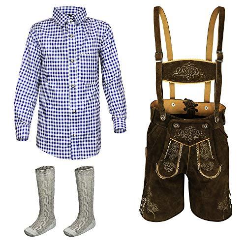 Kiddy Tracht Kinder Lederhose 3erSET Kurze Trachtenlederhose Trachten Hemd Jungen, Braun, 128