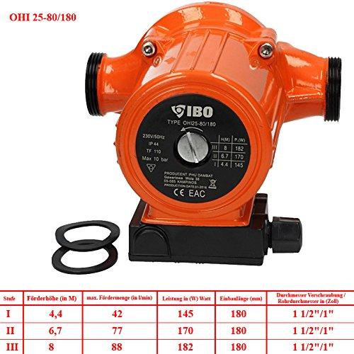 180 Umwälzpumpe Warmwasser Pumpe Heizung Nassläufer 93W Heizungspumpe RS25-60