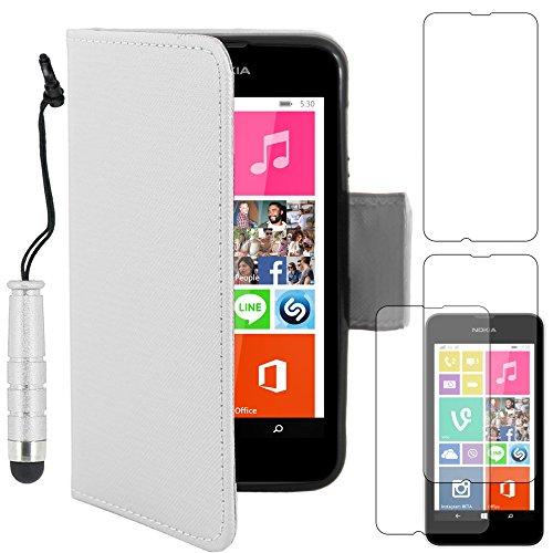 ebestStar - Cover Compatibile con Nokia Lumia 530 Custodia Portafoglio Pelle PU Protezione Libro Flip + Mini Penna +3 Pellicole plastica, Bianco [Apparecchio: 119.7 x 62.3 x 11.7mm, 4.0'']