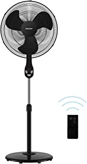 "PELONIS FS45-18UR 18"" Quiet Oscillating Pedestal Fan with LED Display, Remote Control, 3 Speeds and Modes, 7h Programmed Timer for Home and Office, Glossy Black, 18 Inch 2019 New Model"