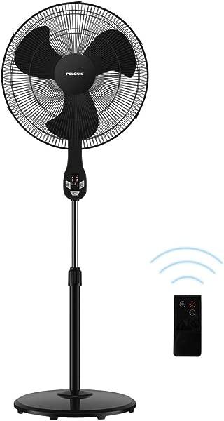Pelonis FS45 18UR 法令》静音振动底座风扇与 LED 显示屏远程控制月速度和模式月小时编程定时器为家庭和办公室英寸乌黑发亮的法令》