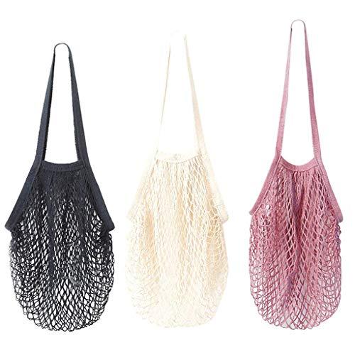 3 Pack-Portatile/Riutilizzabile/Lavabile Cotone Mesh String Organizer Borsa Shopping Borsa Lunga Maniglia Net Tote