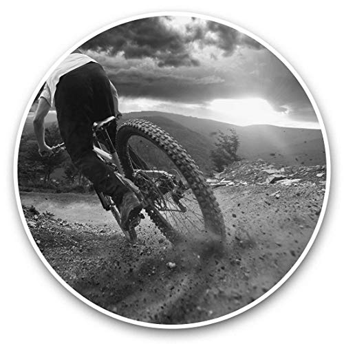 Vinyl Stickers (Set of 2) 15cm Black & White - Mountain Biking Bike Trail Sunset Laptop Luggage Tablet #37066