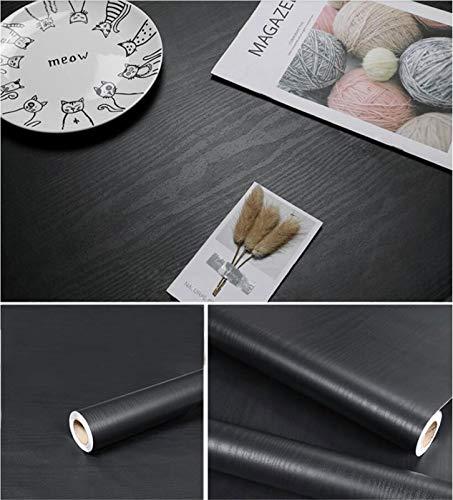 "197""×17.7"" Black Wood Wallpaper Wood Black Wallpaper Peel and Stick..."