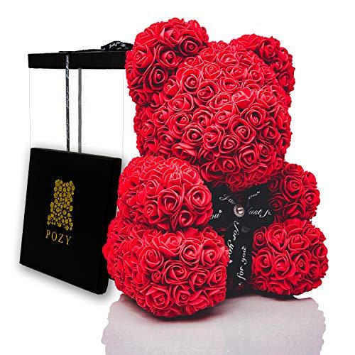 POZY Rosenbär mit Geschenkbox - einzigartiges Geschenk für Freundin zum Geburtstag & Jahrestag - exklusiver Teddybär aus roten Rosen für den perfekten Hochzeitstag - ewige Rosen mit voller Farbe