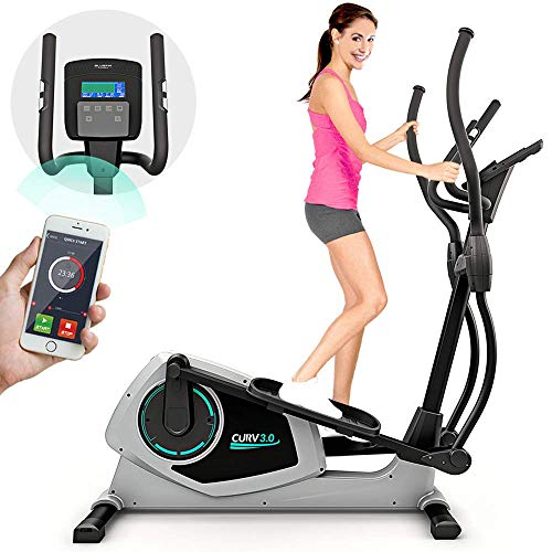 Bluefin Fitness CURV 3.0 Elliptical Cross Trainer | Home Gym | Exercise Step Machine | Air Walker | Long-Stride | LCD Digital Fitness Console | Bluetooth | Smartphone App | Black & Grey Silver