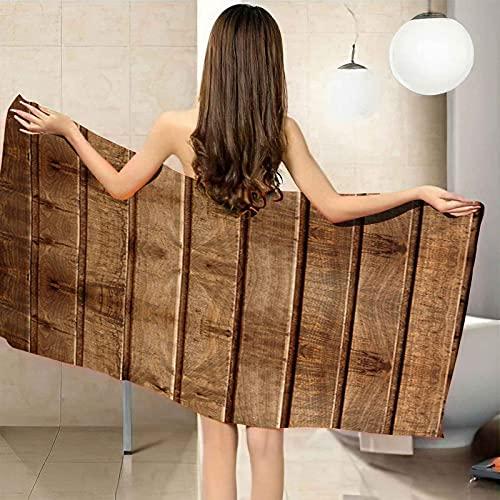 VJEJSE Toalla de Playa Grande toalla de baño 100% Microfibra 100x200 cm Impresión de tiras de madera marrón Toallas de Piscina Grandes Suave y de Secado Rápido Toalla de impresión, Toalla, Toalla de G