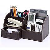 KINGFOM 7 Compartiments en PU Cuir Multi-fonctionnels Organisateur de Bureau