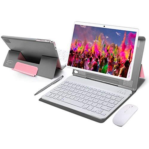 Tablet 10 Pulgadas 4GB de RAM 64GB de ROM Android 10 Certificado por Google GMS Tablet PC Baratas y Buenas Batería 8000mAh Quad Core Dual SIM 8MP Cámara Netflix WiFi Type-C Bluetooth GPS OTG(Rosa)
