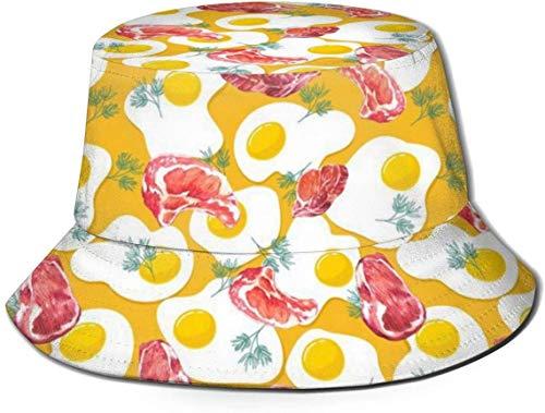 Sombreros de Cubo Transpirables con Parte Superior Plana Unisex Sombrero de Cubo de Textura de Superficie de Baloncesto Sombrero de Pescador de Verano-Filete de Carne Huevo-Talla única