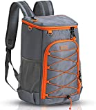 Sougayilang Insulated Cooler Backpack 30 Cans Large Capacity Backpack Cooler Lightweight Leakproof Soft Cooler Bag to Picnics, Camping, Hiking, Beach, Park, Fishing, Trips, (Gray)