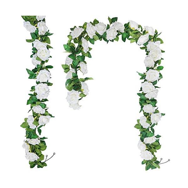 SHACOS 3 Unidades Guirnaldas de Rosas Artificiales de Seda Guirnalda de Flores Blancas para Colgar en Bodas, hogar…