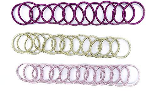 irresistible1 Lot de 36 élastiques à cheveux de petite taille sans accroc 2 cm avec fil métallique pailleté fuchsia, rose, doré