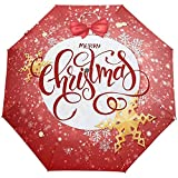 Merry Christmas Snowflakes Ball Red Auto Open Close Sun Rain Paraguas