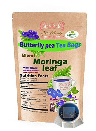 Moringa Leaves leaf Blend Butterfly pea flowers 30 Tea Bags Original Grown in Thailand