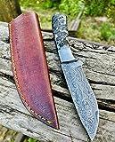 IX Bandle Custom Handmade Hunting Knife Camp Knife Damascus Steel Hunting Skinning Knife EDC 9'' Ram horn Handle with Custom Sheathe