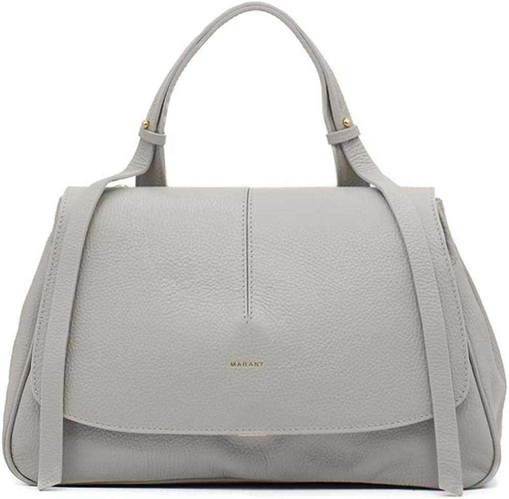 Marant sofia borsa da donna a mano/tracolla in vera pelle grigia