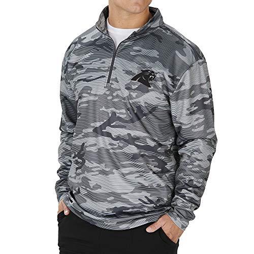 Zubaz NFL Carolina Panthers Men's Lines Poly Fleece 1/4 Zip Jacket, Gray, Medium