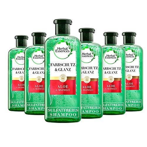 Herbal Essences PURE: renew Farbschutz & Glanz Shampoo mit Aloe + Mango, 6er Pack (6 x 225 ml), Shampoo Damen, Haarpflege Glanz, Ohne Silikon, Ohne Sulfate, Tierversuchsfrei