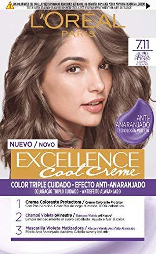 L'Oréal Paris L'Oréal Paris Excellence Creme Tinte Permanente, Tono 7.11 Rubio Ceniza Intenso 260 g