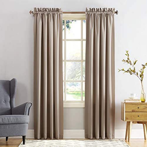 "Sun Zero Barrow Energy Efficient Rod Pocket Curtain Panel, 54"" x 84"", Stone, One Panel"
