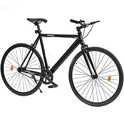 Outroad Urban City Road Bike Single-Speed Commuter Bicycle Fixie Track Bike with 700 x 25C Tire, Black