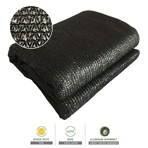 Sun Shade Cloth 70% Sunblock Black Greenhouse Shade Net 6.5'x13' UV Block Shade Tarp with Dark Green Taped Edge& Aluminium Grommets for Garden Plants
