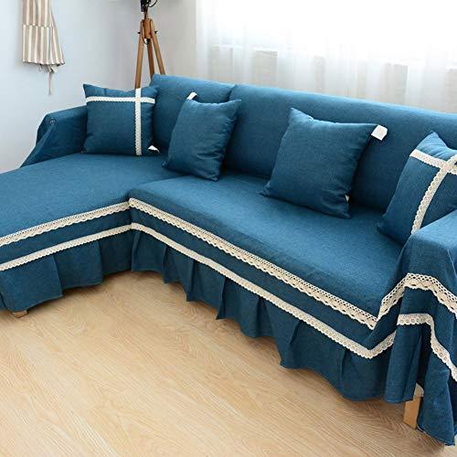 TT&CC Housse canapé Lin,1 pièce Combinaison Couleur Unie Dentelle Moderne  Simple pour Animaux de Compagnie Anti-dérapant Living Room canapé  Protecteur ...