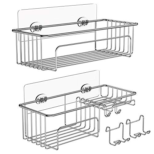 Apusu 2-Pack Shower Caddy Hanging Basket Shelf With Removable Hooks, Premium Stainless Steel 100% Rustproof Shower Caddies,Wall Mounted Bathroom Shelf Hanging, Sturdy Shower Racks For Small Shower, Sticky Shelves Storage Rack For Bathroom Wall Kitchen Organizer- No Drilling, 2 Replacement Adhesives (Silver)