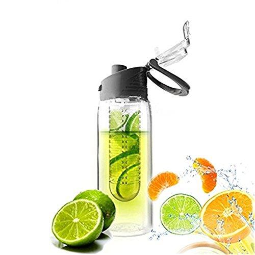 Cosanter Wasserflasche 800ML Fruit Infuser Sports Trinkflasche Kunststoff Water Bottle BPA-frei Flasche mit Verschluss Schwarz