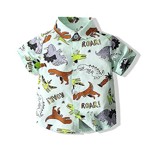 WangsCanis Camiseta de bebé con cuello en V, diseño de dibujos animados de manga corta, con solapa, para niños, blusa deportiva transpirable, ropa informal para niños blanco 3-4 Años