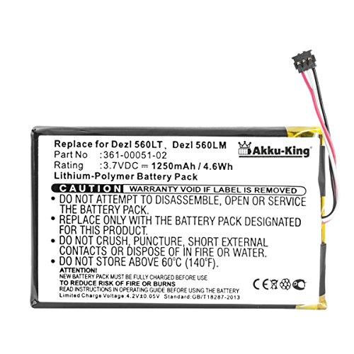 Akku kompatibel mit Garmin 361-00051-02, EE39EF08B0E36 - Li-Polymer 1250mAh - für Dezl 560, Dezl 560LT, Dezl 560LMT, Nüvi 2450, Garmin 4NSF