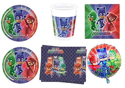 PJ Masks Super pigiamini coordonné décorations fête – Kit N ° 8 CDC- (32, 32 verres, 40 assiettes 40 serviettes, 1 nappe, 1 ballon Foil)