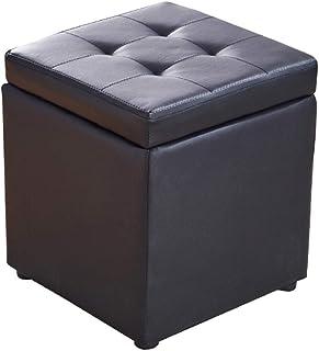 WEWE Cube en Faux Cuir Ottoman Rangement Repose-Pieds Pouf Banc Siège,boîte De Jouet avec Hinge Top Organisateur Boîte Pou...