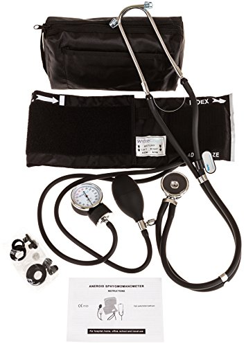White Coat Deluxe Aneroid Sphygmomanometer Professional Blood Pressure Cuff Monitor with Adult Sized Black Cuff Plus Sprague Rappaport Stethoscope and Accessory Kit