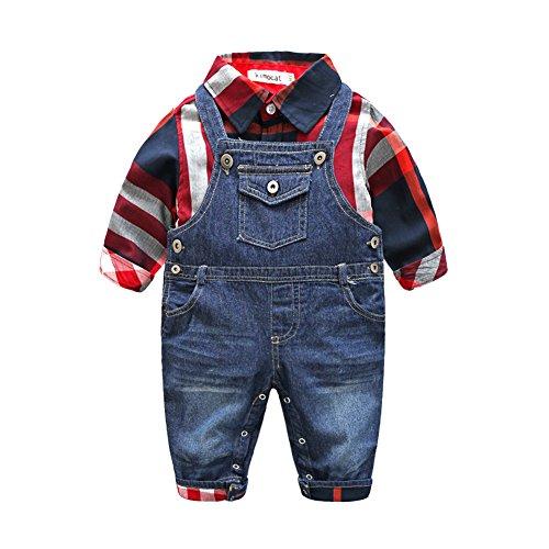 Fanryn 2-teiliges Babykleidungs-Set Babyanzug Jungen Kleider Coat Kleidung Kariertes Hemd Spielanzug + Jeans Bekleidungsset Kleidung Gentleman Anzug mit Ärmeln Herbst Kleidung des(0-24M)