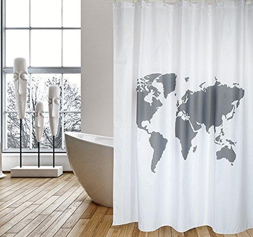 """MSV Cotexsa by Premium Anti-Schimmel Textil Duschvorhang - Anti-Bakteriell, waschbar, 100% wasserdicht, mit 12 Duschvorhangringen - Polyester, """"Welt"""" Weiß 180x200cm – Made in Spain"""