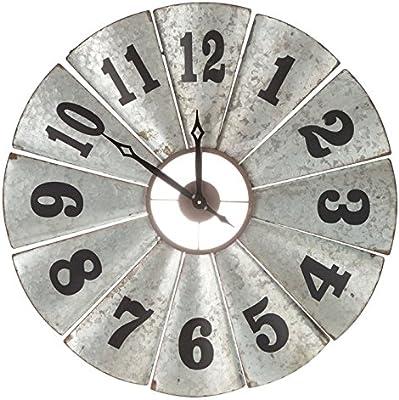 Amazon Com Rustic Galvanized Metal Windmill Blade Clock Country Farmhouse Home Kitchen