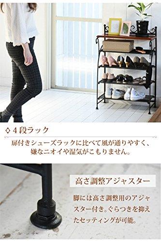 JKプランロートアイアンシリーズシューズラック飾り棚アイアン脚アンティーク風クラシックレトロIRI-0055-BK