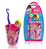 Barbie Premium Kids Friendly Designed Happy Brushing Time Soft Bristle Toothbrush Kit - Manual Toothbrush, Cover Cap, Rinsing Cup - Perfect Gifts for Kids Girls
