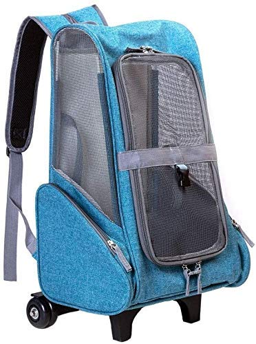 Pet Trolley, Pet Trolley Case Pet Travel Backpack Bag Cat Puppy Dog Carrier Trolley And Telescopic Handle Portable Stroller Wheel Luggage Bag (Color : Blue) Firm
