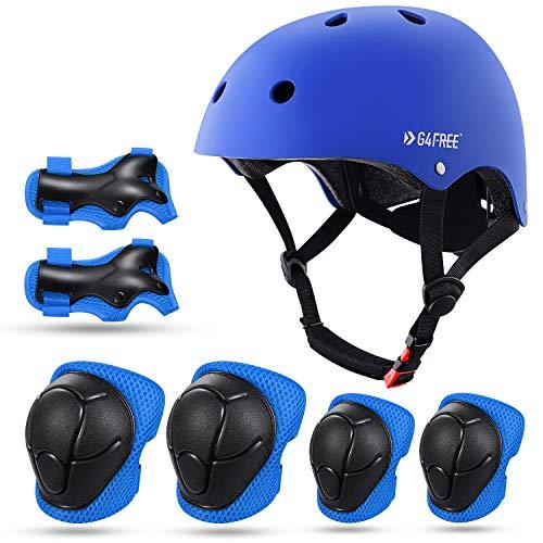 G4Free Kids Bike Skateboard Helmet and Knee Elbow Pads Wrist Guards for 3-8...
