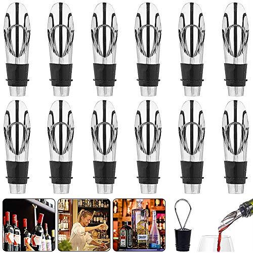 Vertedor Acero Inoxidable Boquillas,COTEY 12 Piezas Tapones y vertedores para Vino para Botellas Vino dosificador Aceite Licor Caño Cónico Rápido con Tapón Antigoteo Vertedor de vino Antigota