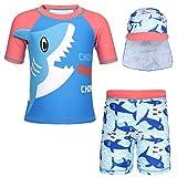 AmzBarley Squalo Protezione Solare UV Costumi da Bagno per Bambini Ragazzo Due Pezzi Animale del Fumetto Costume Spiaggia Vacanza Piscina Mare Berretto