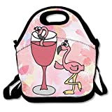 Artsy Funny Rose Flamingo Bird boire Vin étanche Lunch Tote Sac Portable Picnic Lunch Box Lunch Pouch