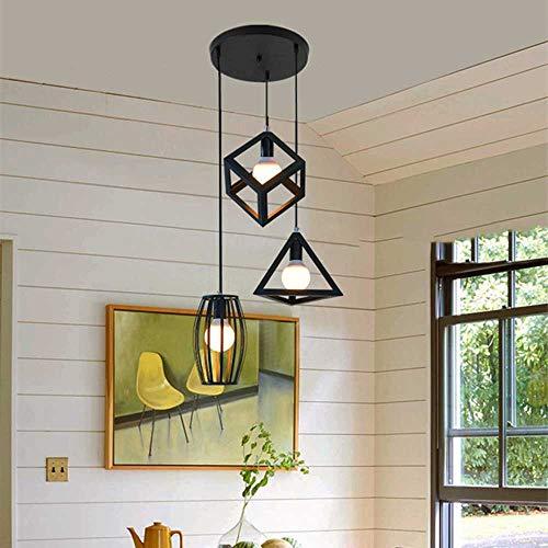 Led-hanglamp, stereo, modern met 3 koppen, hangende verlichting, in hoogte verstelbaar, eenvoudige gat, plafondlamp, slaapkamerstang, keuken, spinnenverlichting