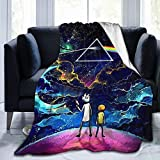 UPKIU Rick-and-Morty Pattern Flannel Blanket Personalized Stylish Sofa Blanket Soft and Warm Winter Sofa Bed Blanket with Lightweight Decoration,Made in USA,80'x60'