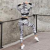 FEE-ZC Leggings para Mujer Conjunto de Yoga Conjunto de Yoga Camuflaje con Capucha Estampado Ajustado Deportes Yoga Tops Mujer