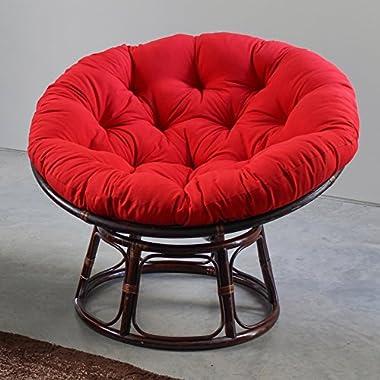 International Caravan 3312-TW-GP-IC Furniture Piece 42-Inch Rattan Papasan Chair with Solid Twill Cushion