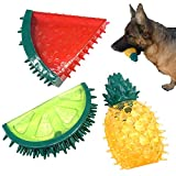 Jalousie Dog Squeaky Toys Value Set Non-Toxic Dog Squeaky Balls for Dogs Toss Fetch Toys for Dogs TPR Rubber Puppy Toys Spikey Dog Chew Toys for Small Medium Dogs Pet Toys for Puppy (3 Pack Fruit)